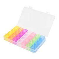 ingrosso scatole di visualizzazione del tallone-Chiaro scatola di immagazzinaggio di visualizzazione di perline di gioielli di scatola di immagazzinaggio di arte del chiodo di 28 scatole di gioielli di strass di plastica chiara