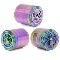 Wholesale diamante shape - New Arrival 4 Layers New Style Iceblue Rainbow Color Zinc Alloy Diameter 63mm Diamante Spider Skull Frog Shape Side Open Herb Grinder
