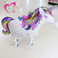 fãs da pena para casamentos venda por atacado-Walking Rainbow Unicorn Balão Dos Desenhos Animados Animais Foil Balão Para Decorações da Festa de Aniversário Crianças Brinquedos Atacado