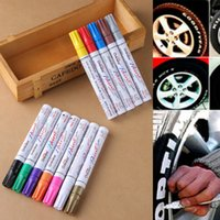 Wholesale Graffiti Marker Pens - Metal Oil Rubber Tread Car Tyre Waterproof Paint Pen Marker Permanent Graffiti Oily Marker Pen OOA4851