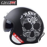 Wholesale ls2 helmet open face - Original LS2 vintage motorcycle Helmets 3 4 open face scooter retro helmet with inner sunshield UV Protected glass LS2 helmet