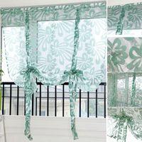 casa cortina blanca al por mayor-Cortinas de cocina jacquard romano persianas floral blanco panel transparente tul azul ventana tratamiento cortinas de la puerta decoración para el hogar D1