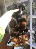 Wholesale honey brown hair weave resale online - Loose Body Wave Ombre Peruvian Virgin Human Hair Weave Bundles T1b Three Tone Brown Honey Blonde Curly Sew In Hair Extensions