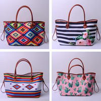 Wholesale wedding handbags free shipping for sale - Group buy Turquoise Leopard Cactus Stripe Tote Handbag Flower Canvas Striped Purse Can Be Embroidery Wedding Gift Bag