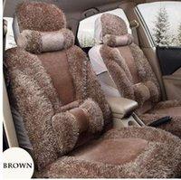 jeu de housses de siège à brunir achat en gros de-Brown Avant + retour fausse fourrure housse de siège de voiture pour la plupart des Automobiles Housses de sièges de voiture Protecteur auto Intérieur Accessoires