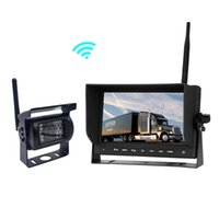 trucks reversing camera 2018 - 2.4GHZ Wireless Parking Reverse System with 18 LED IR Car Backup Rearview Camera and 7 inch LCD Monitor for Truck Bus RV