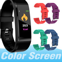smart uhren zum verkauf großhandel-Verkauf Farbe LCD Bildschirm ID115 Plus Smart Armband Fitness Tracker Pedometer Uhrenarmband Herzfrequenz Blutdruckmessgerät Smart Armband