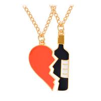 ingrosso coppia collane mezzo cuore-Nuovi collane del pendente della bottiglia di vino del cuore di amore di 2pcs / set Collane Migliori amici BFF Collana di amicizia per i regali dei monili degli amanti della coppia