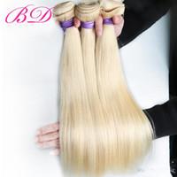 14 zoll blonde haarverlängerungen großhandel-BD Malaysian Glattes Haar Menschenhaarverlängerungen 12-22 Zoll Nicht Remy Haar 613 Blonde Bundles Großhandelspreis