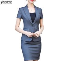 jupe uniforme de travail achat en gros de-NAVIU nouvelle mode femmes jupe costume deux pièces ensemble top manches courtes et jupe pour les dames de bureau d'été uniformes vêtements de travail