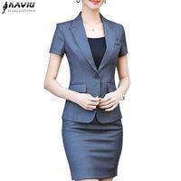 bayan ofis çalışma üniforması toptan satış-NAVIU Yeni moda kadınlar etek suit İki parçalı set kısa kollu üst ve etek yaz ofis bayanlar üniforma iş elbisesi için