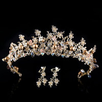 Wholesale Handmade Gold Plated Earrings - Baroque style rhinestone queen wedding crowns with earrings for women handmade bridal crystal tiaras hair jewelry accessorie
