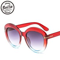 lentes de gelatina venda por atacado-Sella New Fashion Ladies Oversized Rodada Óculos De Sol Transparente Geléia Cor Quadro Gradiente Lente Mulheres Cateye Verão Óculos de Sol