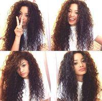 african american glueless peruklar toptan satış-Afro Kıvırcık Uzun Siyah Peruk Isıya Dayanıklı Tutkalsız Sentetik Dantel Ön Peruk Bebek Saç Ile Kadınlar Için Afrika Amerikan Peruk