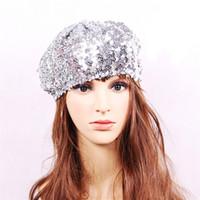 payet berber şapkaları toptan satış-Moda Parti Sequins Bere Şapka Streç Tığ Shining Bereler Cap Vintage Baskı Kadınlar Için Bere Şapka Kulübü Dans Kap Kız Kap 14 Renkler