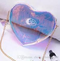 Wholesale heart clothing sale online - hot sale fashion laser messenger bag women pink blue candy color handbags love heart shape bags for teenage girls AJI