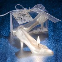 schuh liefert fersen großhandel-3D Hochzeit Dekoration Kristall Schuh Design Kerze Weiß High heels schuhe Kerzen für DIY Urlaub Hochzeit Party Decor Liefert P20