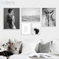 Wholesale art deco paintings online - Black White Girl Figure Tattoo Sea Landscape Poster Print Nordic Living Room Wall Art Picture Home Deco Canvas Painting No Frame