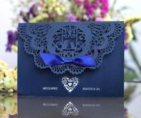 ingrosso inviti piegati quadrati-In Stock Navy Laser Cut Inviti di nozze cartoline Impegno di fidanzamento di nozze formali Biglietti per inviti stampabili per matrimoni formali