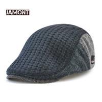 erkekler ilmi şapkalar şapkalar toptan satış-Jamont Erkek Örme Yün Bere Kap Kış Sıcak Şapka Için Erkek Ördek Gagası Visor Düz Kap Boina Cabbie Yaşlı Erkekler Newsboy Şapka Caps