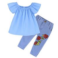 Wholesale girls denim suit kids for sale - Group buy Baby INS outfits girls Off Shoulder top Rose Flower print Denim pants set summer suit Boutique kids Clothing Sets C4068