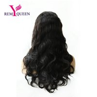 Discount full lace wigs under - Remy Queen Human Hair 1B# Off Natural Black Body Wave Full Lace Wig 130% Medium Density Plucked With Baby Hair
