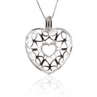 Wholesale locket for sale - Big Rainbow Heart Cage Pendant Sterling Silver For mm Pearls mm