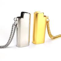 isqueiros de marca venda por atacado-3 pçs / lote marca de moda hiphop prata cor de ouro de metal cooper isqueiro caso colar com logotipo NK0252
