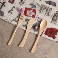 Wholesale wood animal spoon resale online - Originality Wooden Dinnerware Natural Bamboo Tableware Gift Security Non Toxic Spoon Fork Knife Set Exquisite Anti Scald zl jj