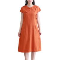 ingrosso vestito di lino di un pezzo-2018 estate cotone cheongsam cinese tradizionale donne vestono breve qipao signore un pezzo vestito mujer vestido