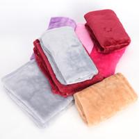 Wholesale fleece textiles - Wholesale- New 1 pcs Bed Blanket Fleece Blankets For Bed Throw Blanket Size 50cm * 70cm Machine Washable Home Textile Solid Color