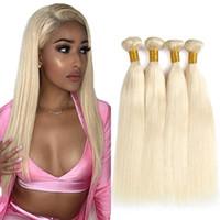 sarışın saç telleri toptan satış-613 Sarışın Saç Örgüleri Perulu düz İnsan Saç 3 Paketler 100% Bal Düz Olmayan Remy Saç Uzantıları