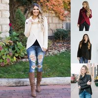 Wholesale Black Top Crochet Collar - Women Crochet Knitted Casual High Collar Loose Sweater Tops Button Irregular Sweater Pullover Cardigan 4 Colors LJJO4125