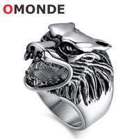 gros anneaux de roche achat en gros de-OMONDE Mens Titanium Acier Inoxydable Monster Beast Animal Totem Big Wolf Tête Anneau pour Homme Biker Hip Hop Rock Punk Mode Bijoux