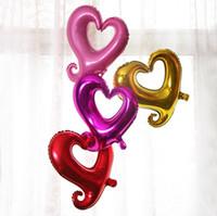 papel de globo de helio corazón al por mayor-Globo de helio de 18 pulgadas Gancho grande Amor Globos de aire en forma de corazón para decoraciones de boda Papel de aluminio Globo aerostático Moda 0 59tq B