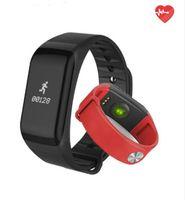 sağlık bilek bilezik toptan satış-F1 Smartband Nabız Monitore Akıllı Bileklik Bilezik Sağlık Bilek İzle Çağrı Alarmı Titreşimli xiomi Androidios telefonu için