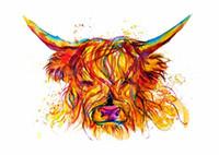 abstraktes gesicht malerei leinwand großhandel-Kuh Gesicht Abstrakte Kunst Tier Natur qualität Leinwand, Handmade / Print Home Decor Wandkunst Ölgemälde Auf Leinwand Multi Größen / Rahmenoptionen 145