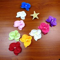Wholesale hair for baby girl artificial online - Artificial Simulation Silk Flower Multi Function Wedding Decorations Moth Orchid Flowers For Baby Girls Hair Accessories zb B