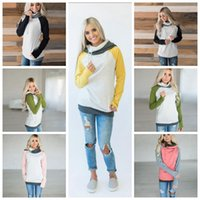 Wholesale long sleeve belted blouse - Women Finger Hoodie Coats Side Zipper Patchwork Lace Up Long Sleeve Pullover Winter Blouses Outdoor Sweatshirts Outwear 5 Colors OOA4190