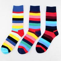 calcetines extranjeros al por mayor-PEONFLY calcetines divertidos de los hombres de algodón puro hombre en calcetines de cilindro feliz viento comercio exterior frontera fronteriza vestido 3PAIRS / LOT