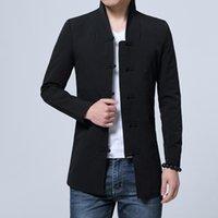 ingrosso migliori stand-Giacche Uomo Fashion Business Leisure 2017 Nuovo stile cinese Stand collare Mens Best Top confortevole cappotto maschile vendita calda taglia S-2XL
