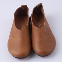 Wholesale mouth art online - Fashion Women Shoes Original Vintage Art Handmade Shoes Genuine Leather Flats Shallow Mouth Casual Shoes Plus Size