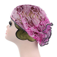 ingrosso big lace scarf-Cappello Donna Pizzo Big floreale Ruffle Cancer CheHat Beanie Sciarpa Turban Head Wrap Cap cappelli per le donne
