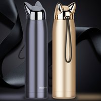 Wholesale tea thermal - 320ml 11oz Cute Cat Fox Ear Designed Vacuum Bottle Double Wall Thermal Coffee Tea Milk Travel Mug Bottle NNA347