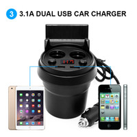 dual car cup holder 2018 - Car Charger Cup Phone Holder Cigarette Lighter Sockets Power Adapter with Dual USB Ports LED for iPhone Android