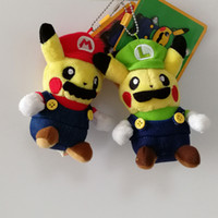 Wholesale mario keychain plush for sale - 100 Cotton Color Pikachu Cosplay Super Mario Bros Keychain Plush Doll Stuffed Toy For Gifts Size quot cm