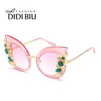 cristal de borboleta de gato venda por atacado-Big borboleta de cristal óculos de sol mulheres leopardo flor diamante óculos de sol senhoras oversize top grace eyewear cat eye shades wl938
