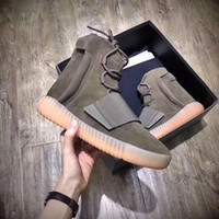 Wholesale mens brown leather fashion boots - 2018 Hot Mens Boost 750 Blackout Outdoors Sneaker,Kanye West shoes Sport Sneakers Fashion outdoor boots season Shoes 36-46