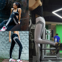 Wholesale sexy white yoga pants online - New Sports Running Leggings Gym Jogging Trousers Yoga Pants Side Stripe Pants Sexy Hip Push Up Pants Fitness Workout