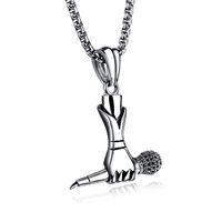 microphone à chaîne achat en gros de-Hiphop Collier Hommes Rappeur DJ Night Club Microphone Pendentifs Colliers Argent avec 24